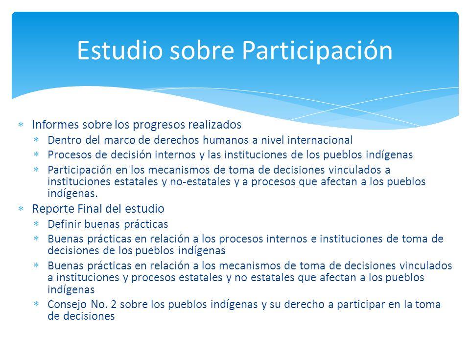 Informes sobre los progresos realizados Dentro del marco de derechos humanos a nivel internacional Procesos de decisión internos y las instituciones d