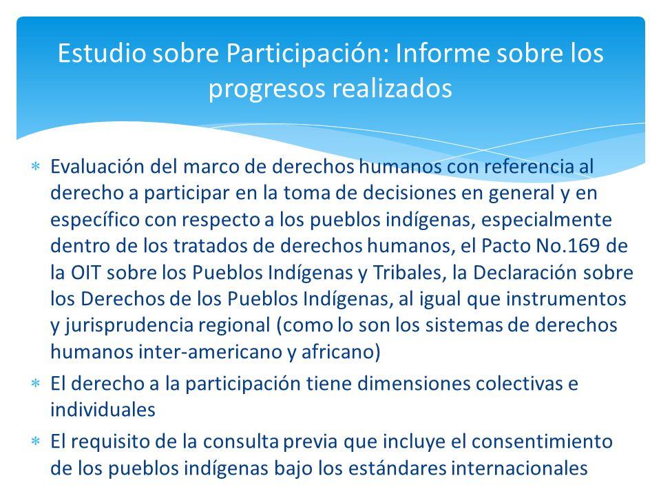 Evaluación del marco de derechos humanos con referencia al derecho a participar en la toma de decisiones en general y en específico con respecto a los