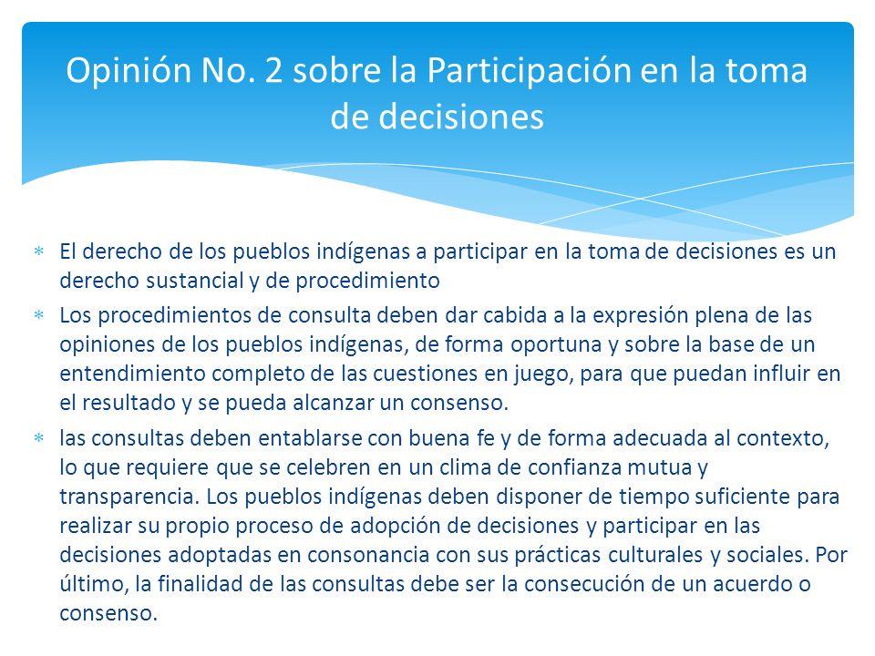 El derecho de los pueblos indígenas a participar en la toma de decisiones es un derecho sustancial y de procedimiento Los procedimientos de consulta d