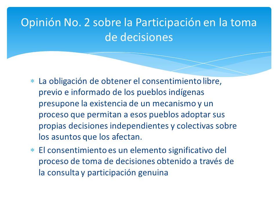 La obligación de obtener el consentimiento libre, previo e informado de los pueblos indígenas presupone la existencia de un mecanismo y un proceso que