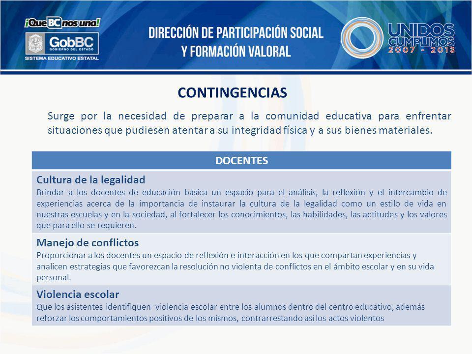 CONTINGENCIAS Surge por la necesidad de preparar a la comunidad educativa para enfrentar situaciones que pudiesen atentar a su integridad física y a s