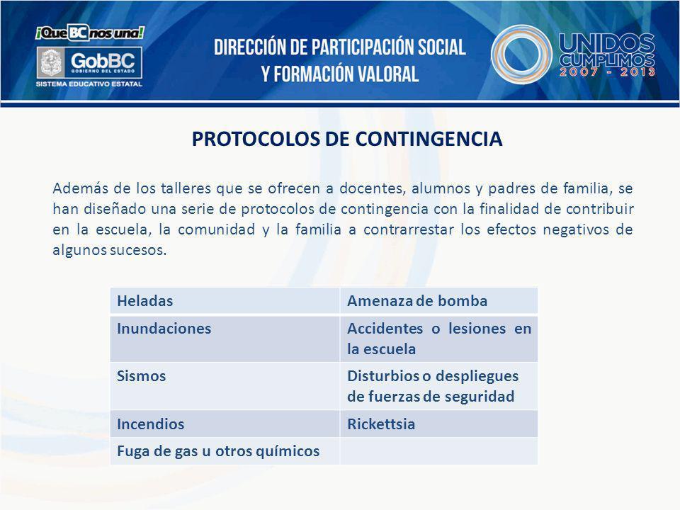 PROTOCOLOS DE CONTINGENCIA Además de los talleres que se ofrecen a docentes, alumnos y padres de familia, se han diseñado una serie de protocolos de c