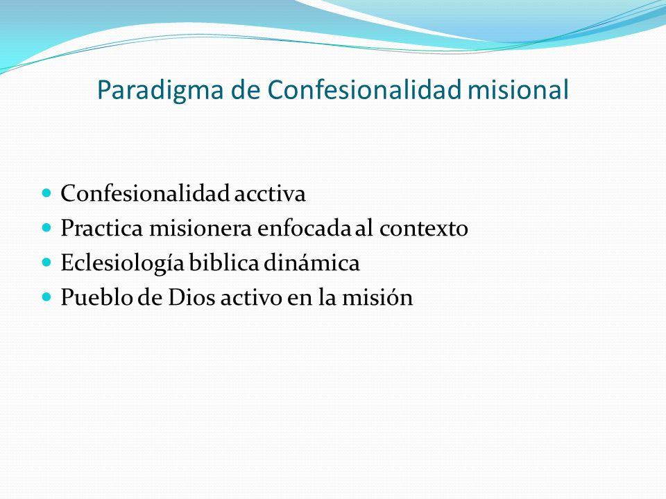 Paradigma de Confesionalidad misional Confesionalidad acctiva Practica misionera enfocada al contexto Eclesiología biblica dinámica Pueblo de Dios act
