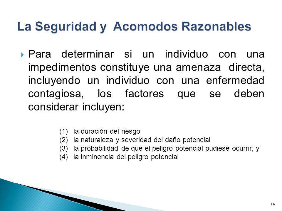 Para determinar si un individuo con una impedimentos constituye una amenaza directa, incluyendo un individuo con una enfermedad contagiosa, los factor