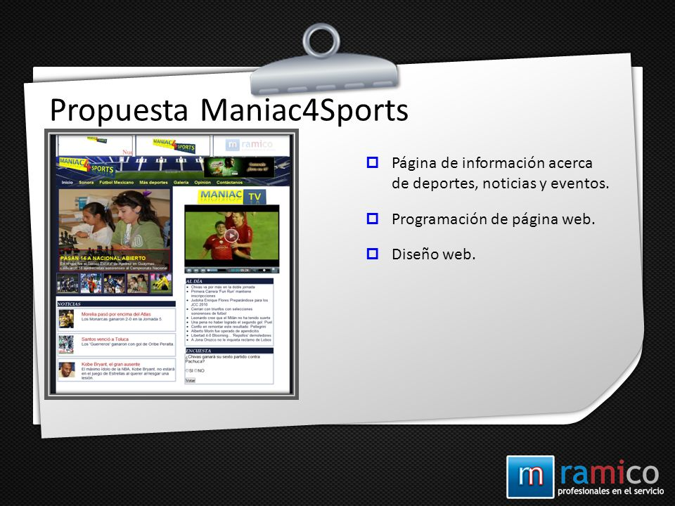 Propuesta Maniac4Sports Página de información acerca de deportes, noticias y eventos. Programación de página web. Diseño web.