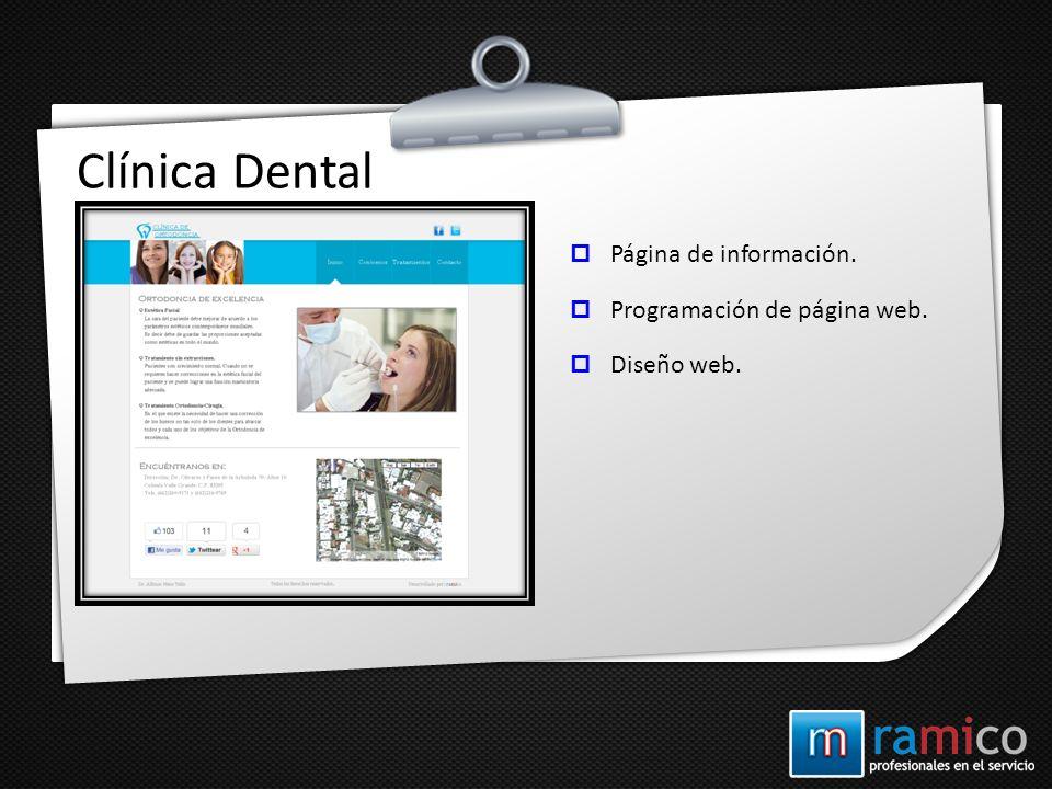 Clínica Dental Página de información. Programación de página web. Diseño web.