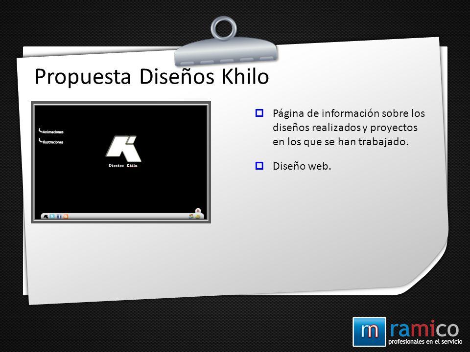 Propuesta Diseños Khilo Página de información sobre los diseños realizados y proyectos en los que se han trabajado. Diseño web.
