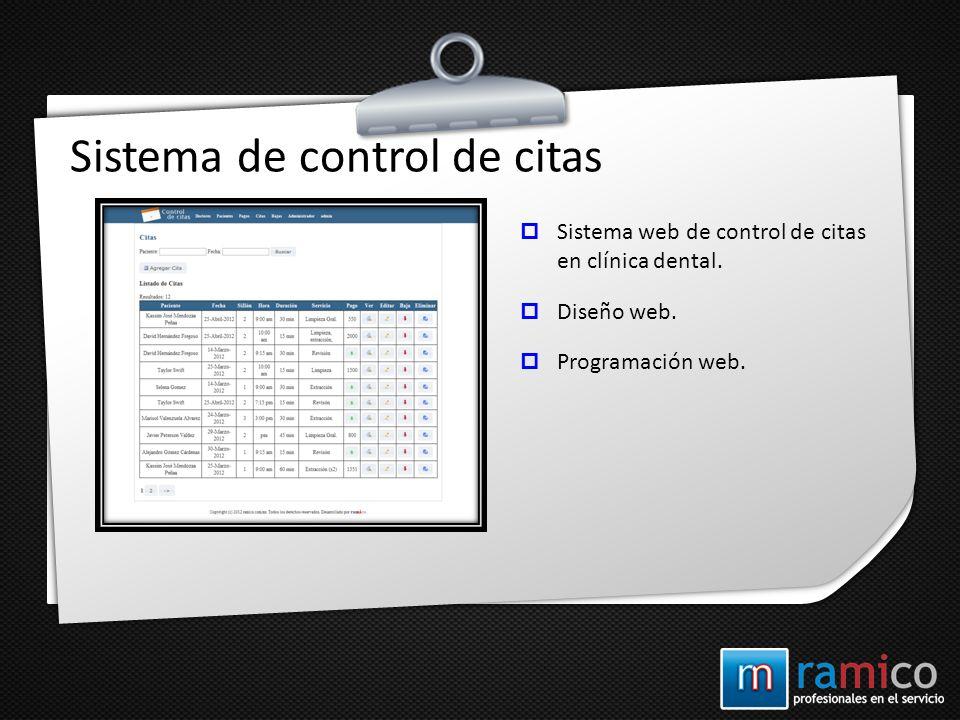 Sistema de control de citas Sistema web de control de citas en clínica dental. Diseño web. Programación web.