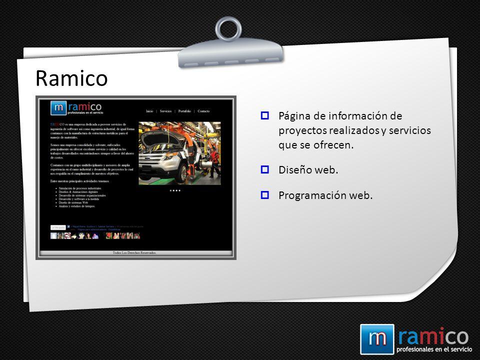 Ramico Página de información de proyectos realizados y servicios que se ofrecen. Diseño web. Programación web.
