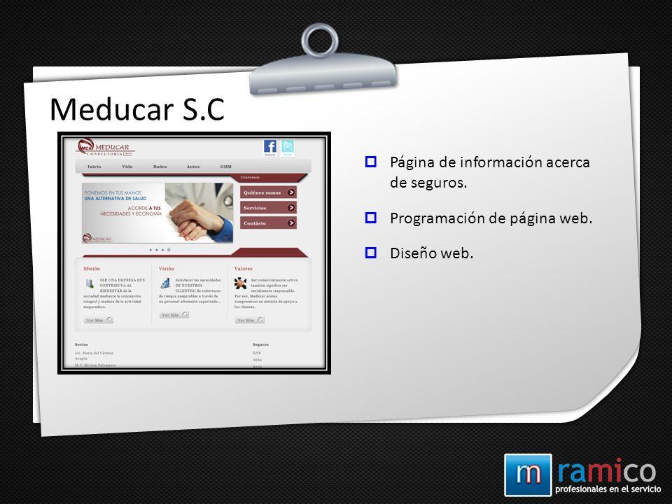 Meducar S.C Página de información acerca de seguros. Programación de página web. Diseño web.