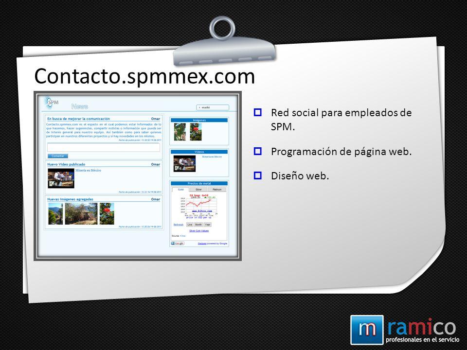 Contacto.spmmex.com Red social para empleados de SPM. Programación de página web. Diseño web.