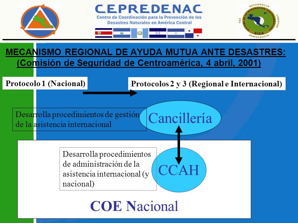 PROYECTO REGIONAL CONSOLIDACIÓN DEL MECANISMO REGIONAL DE AYUDA MUTUA ANTE DESASTRES, MecReg Área Programática de Preparación y Respuesta, APPR del CEPREDENAC, 18 de agosto de 2010