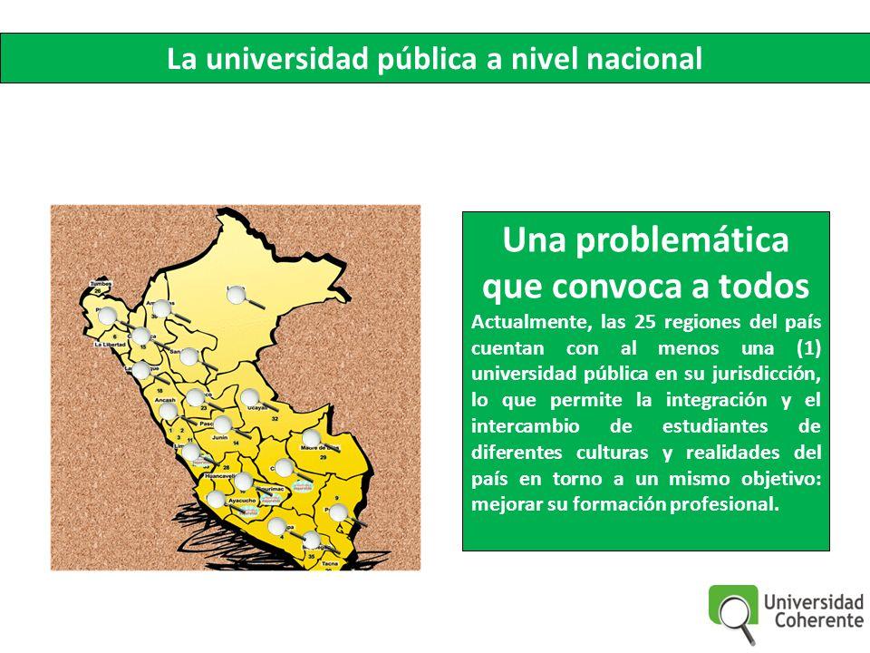 Una problemática que convoca a todos Actualmente, las 25 regiones del país cuentan con al menos una (1) universidad pública en su jurisdicción, lo que