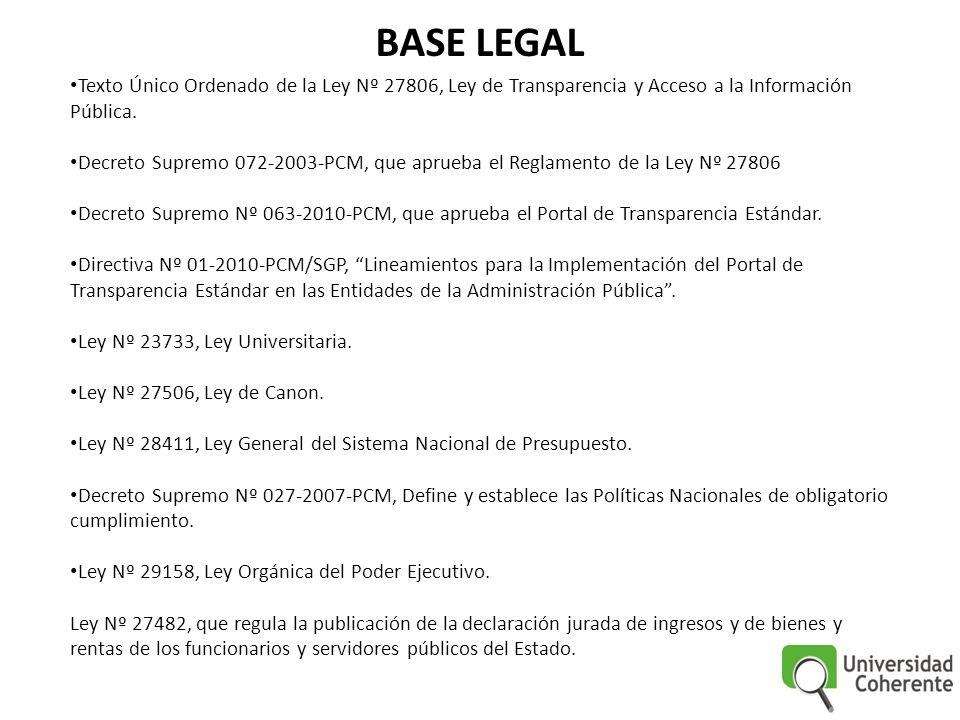 BASE LEGAL Texto Único Ordenado de la Ley Nº 27806, Ley de Transparencia y Acceso a la Información Pública. Decreto Supremo 072-2003-PCM, que aprueba