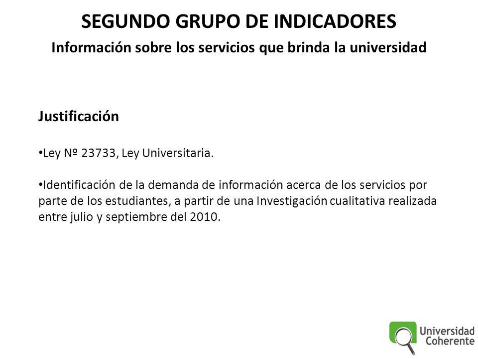 SEGUNDO GRUPO DE INDICADORES Información sobre los servicios que brinda la universidad Justificación Ley Nº 23733, Ley Universitaria. Identificación d