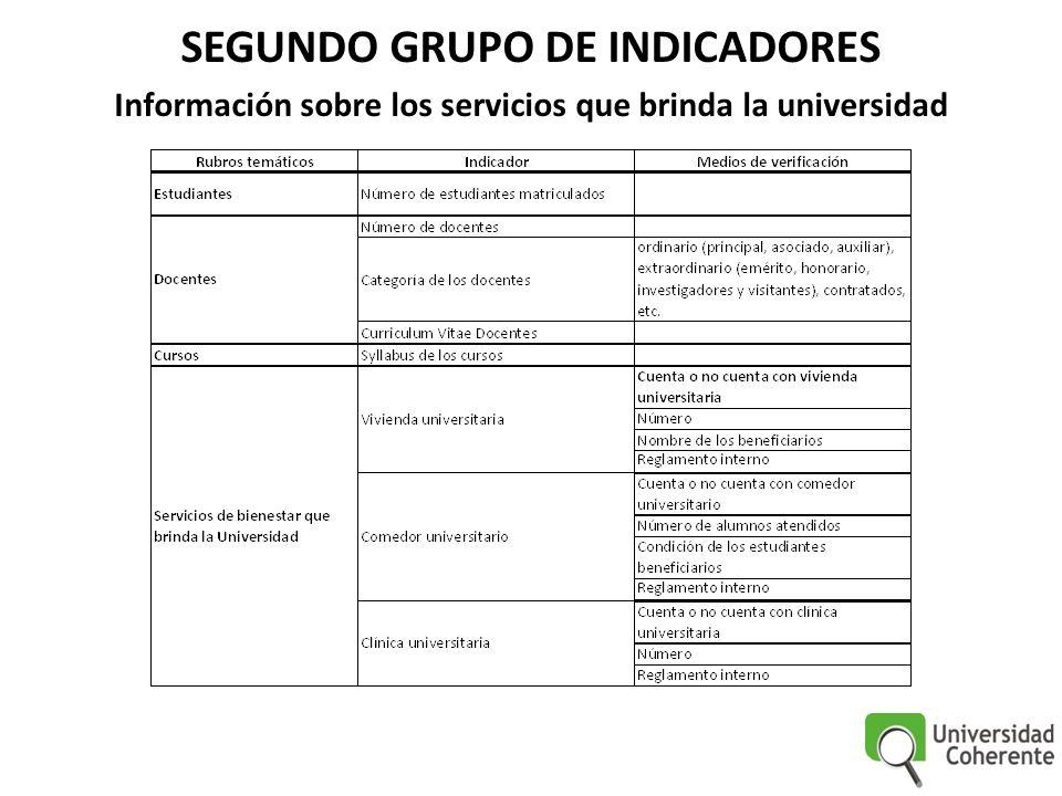SEGUNDO GRUPO DE INDICADORES Información sobre los servicios que brinda la universidad