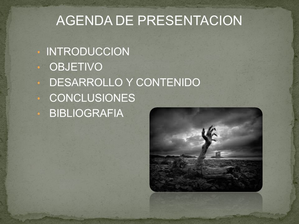 AGENDA DE PRESENTACION INTRODUCCION OBJETIVO DESARROLLO Y CONTENIDO CONCLUSIONES BIBLIOGRAFIA
