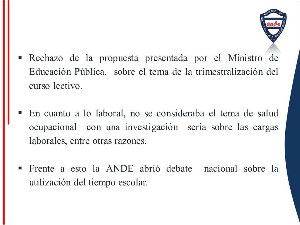 Rechazo de la propuesta presentada por el Ministro de Educación Pública, sobre el tema de la trimestralización del curso lectivo. En cuanto a lo labor