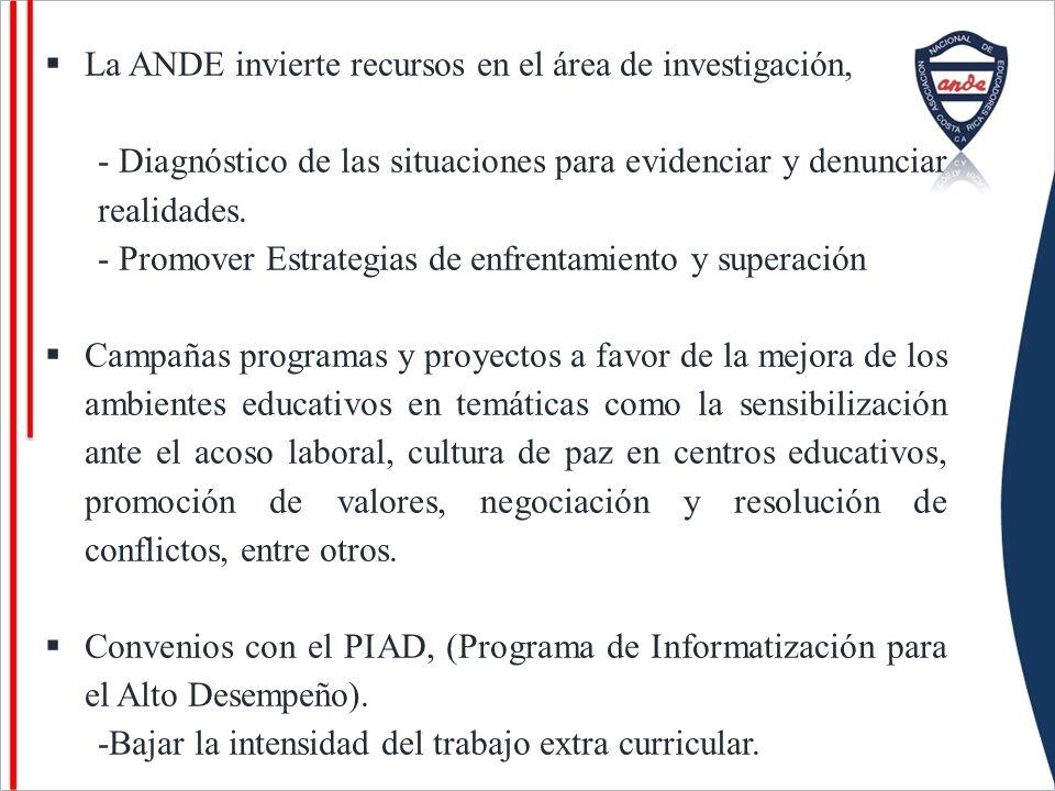 La ANDE invierte recursos en el área de investigación, - Diagnóstico de las situaciones para evidenciar y denunciar realidades. - Promover Estrategias