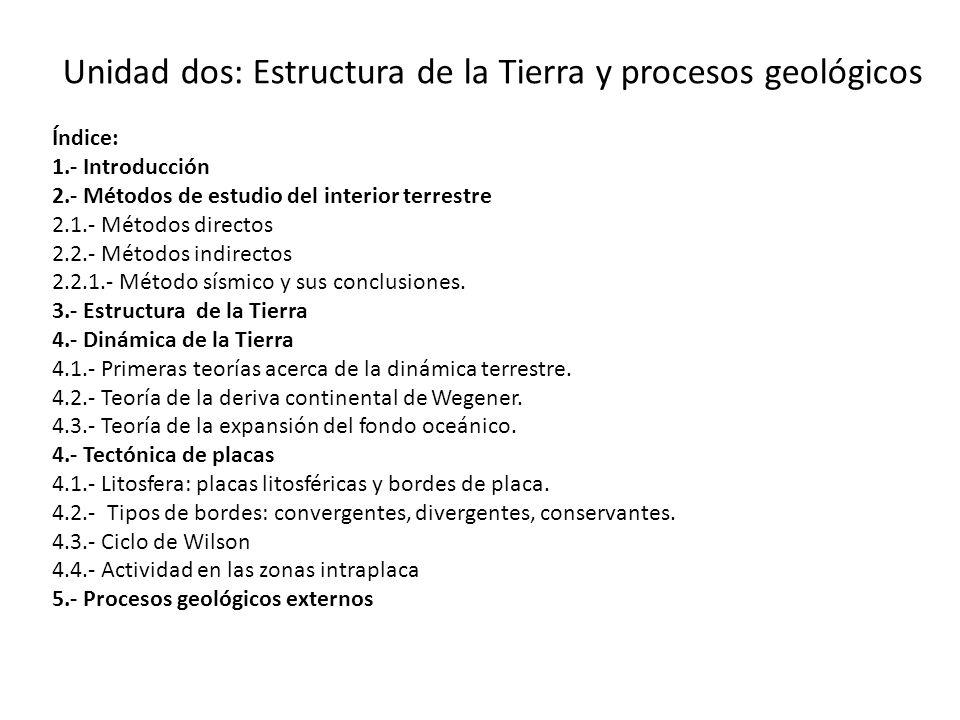Unidad dos: Estructura de la Tierra y procesos geológicos Índice: 1.- Introducción 2.- Métodos de estudio del interior terrestre 2.1.- Métodos directo