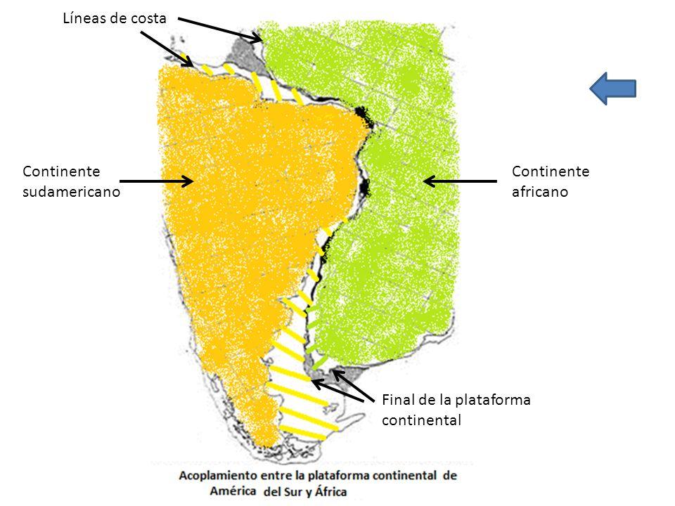Continente africano Continente sudamericano Líneas de costa Final de la plataforma continental