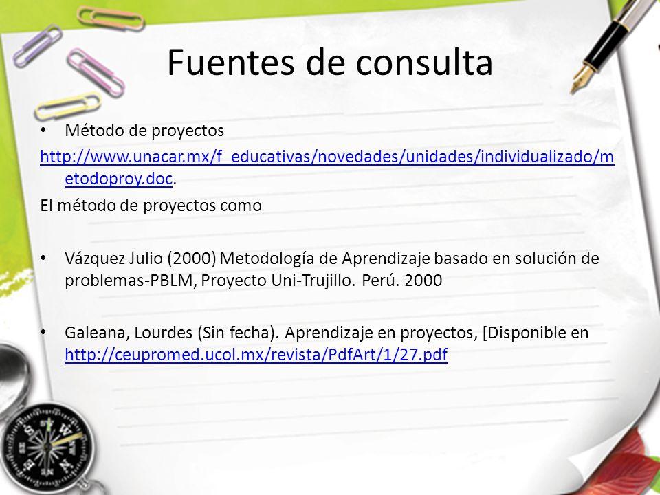 Fuentes de consulta Método de proyectos http://www.unacar.mx/f_educativas/novedades/unidades/individualizado/m etodoproy.dochttp://www.unacar.mx/f_educativas/novedades/unidades/individualizado/m etodoproy.doc.