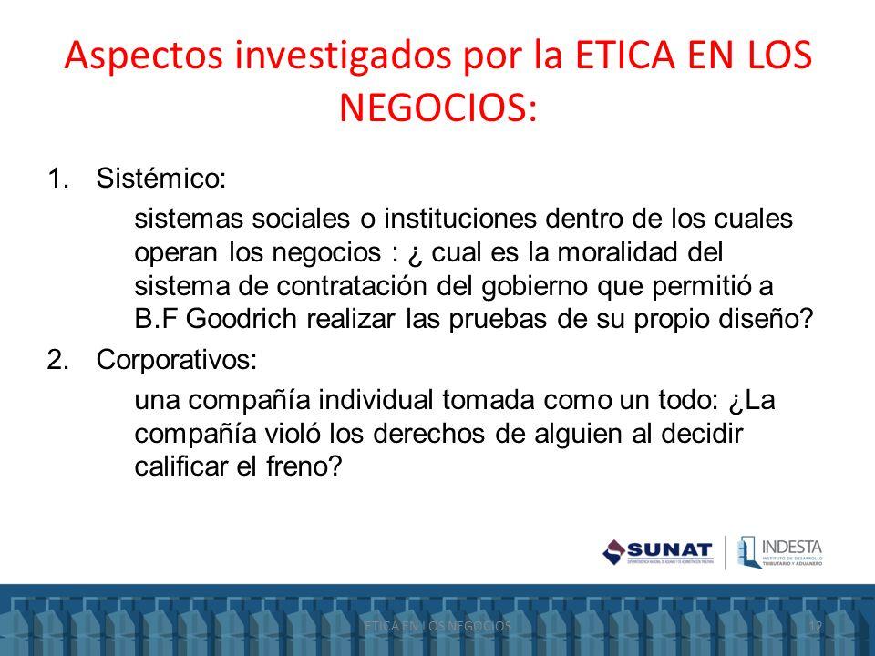 Aspectos investigados por la ETICA EN LOS NEGOCIOS: 1.Sistémico: sistemas sociales o instituciones dentro de los cuales operan los negocios : ¿ cual e