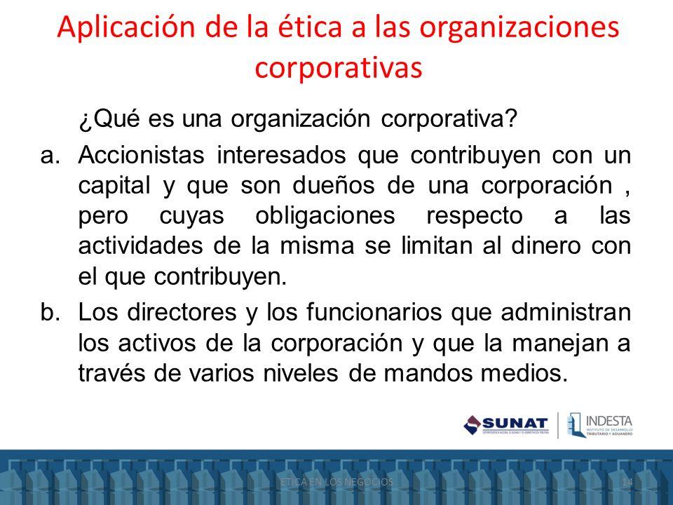 Aplicación de la ética a las organizaciones corporativas ¿Qué es una organización corporativa? a.Accionistas interesados que contribuyen con un capita