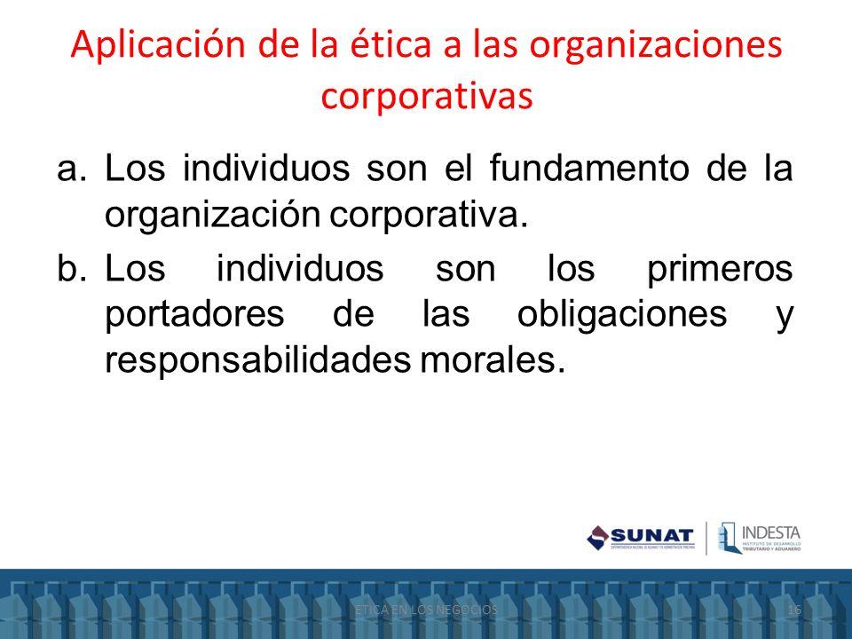 Aplicación de la ética a las organizaciones corporativas a.Los individuos son el fundamento de la organización corporativa. b.Los individuos son los p