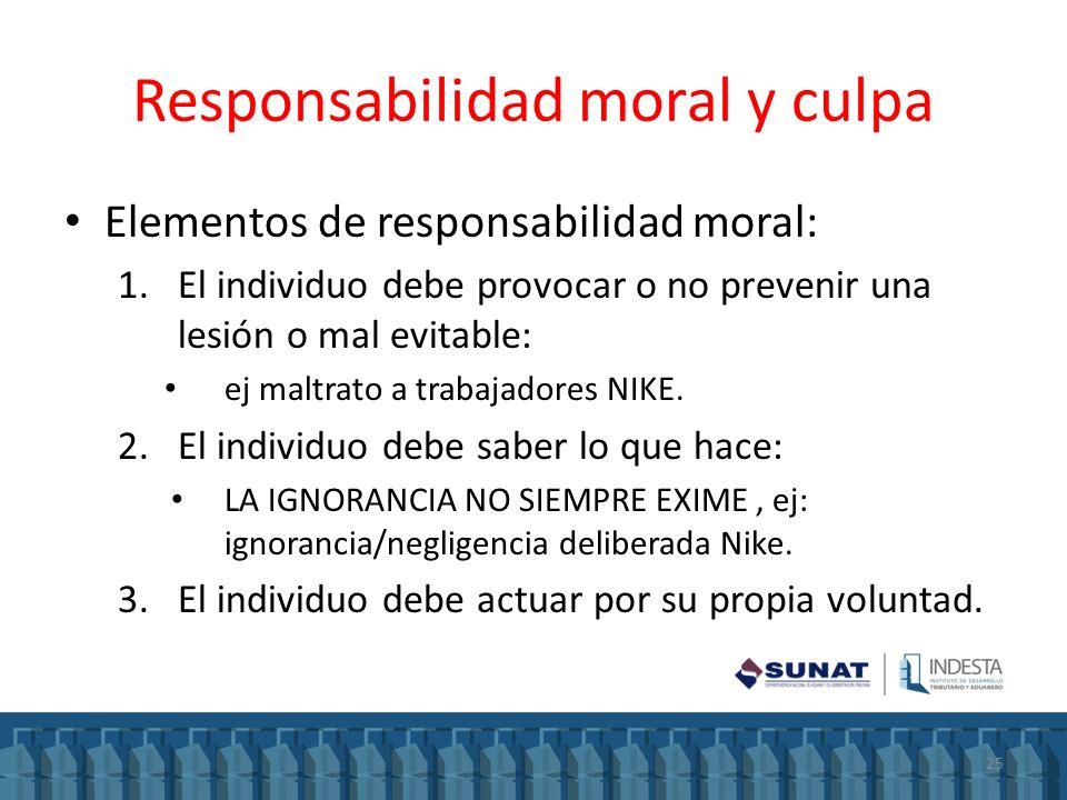 Responsabilidad moral y culpa Elementos de responsabilidad moral: 1.El individuo debe provocar o no prevenir una lesión o mal evitable: ej maltrato a