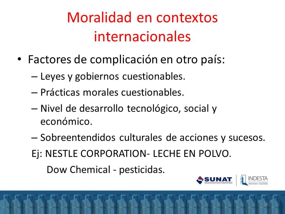 Moralidad en contextos internacionales Factores de complicación en otro país: – Leyes y gobiernos cuestionables. – Prácticas morales cuestionables. –