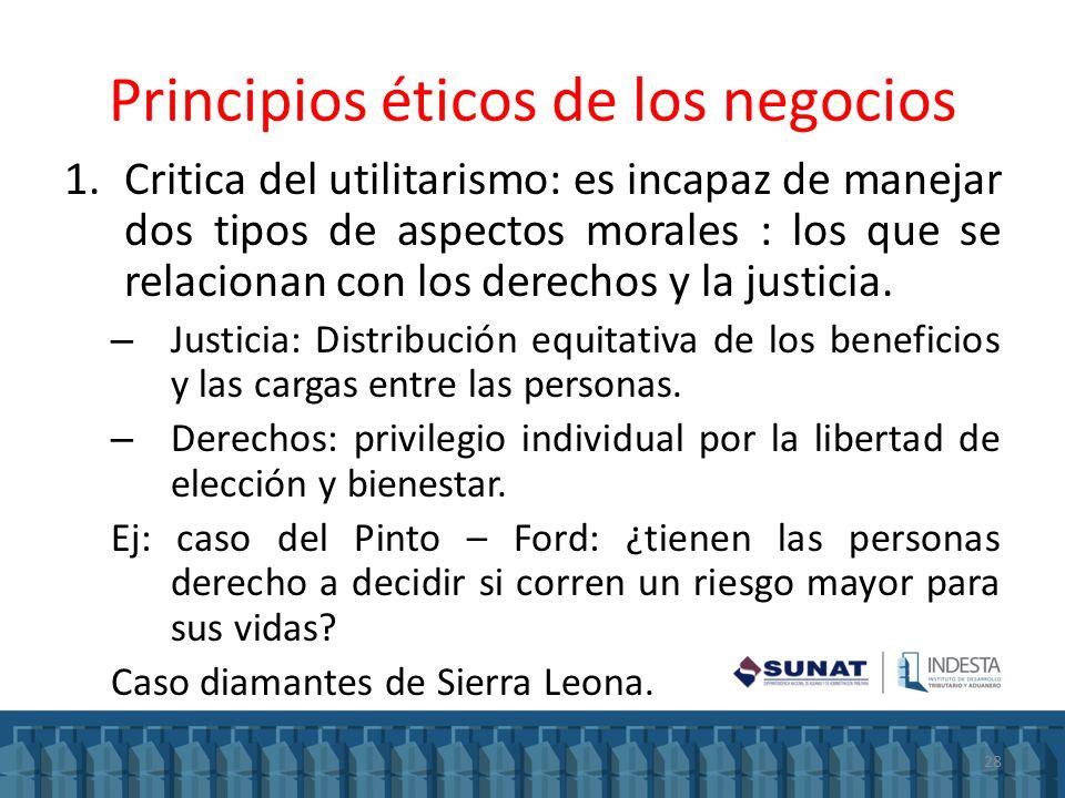 Principios éticos de los negocios 1.Critica del utilitarismo: es incapaz de manejar dos tipos de aspectos morales : los que se relacionan con los dere