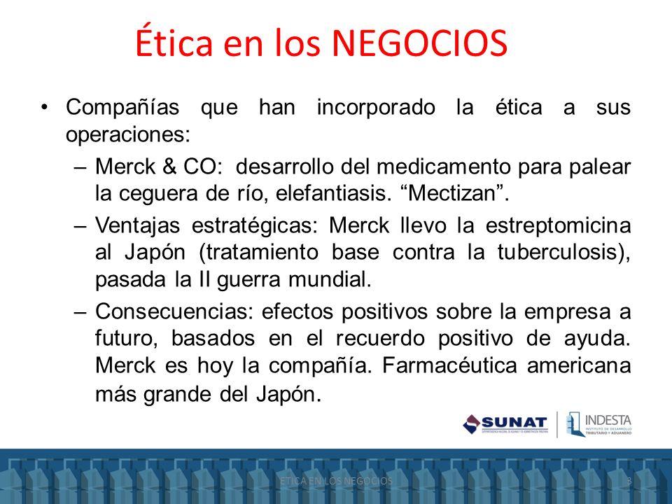 Ética en los NEGOCIOS Compañías que han incorporado la ética a sus operaciones: –Merck & CO: desarrollo del medicamento para palear la ceguera de río,