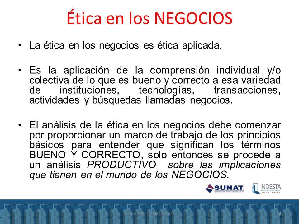 Ética en los NEGOCIOS La ética en los negocios es ética aplicada. Es la aplicación de la comprensión individual y/o colectiva de lo que es bueno y cor