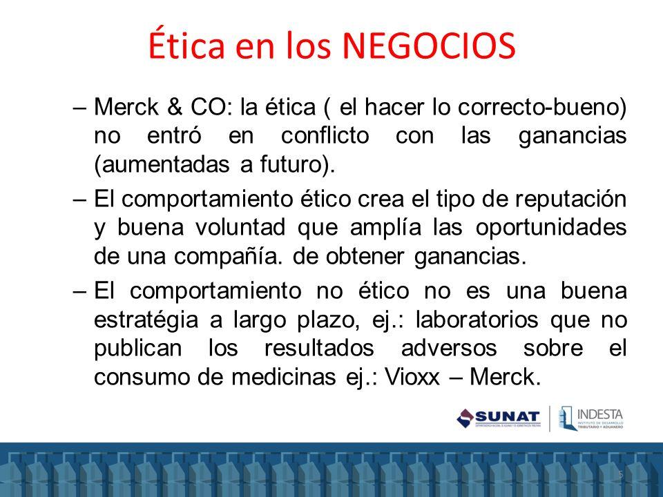Ética en los NEGOCIOS –Merck & CO: la ética ( el hacer lo correcto-bueno) no entró en conflicto con las ganancias (aumentadas a futuro). –El comportam