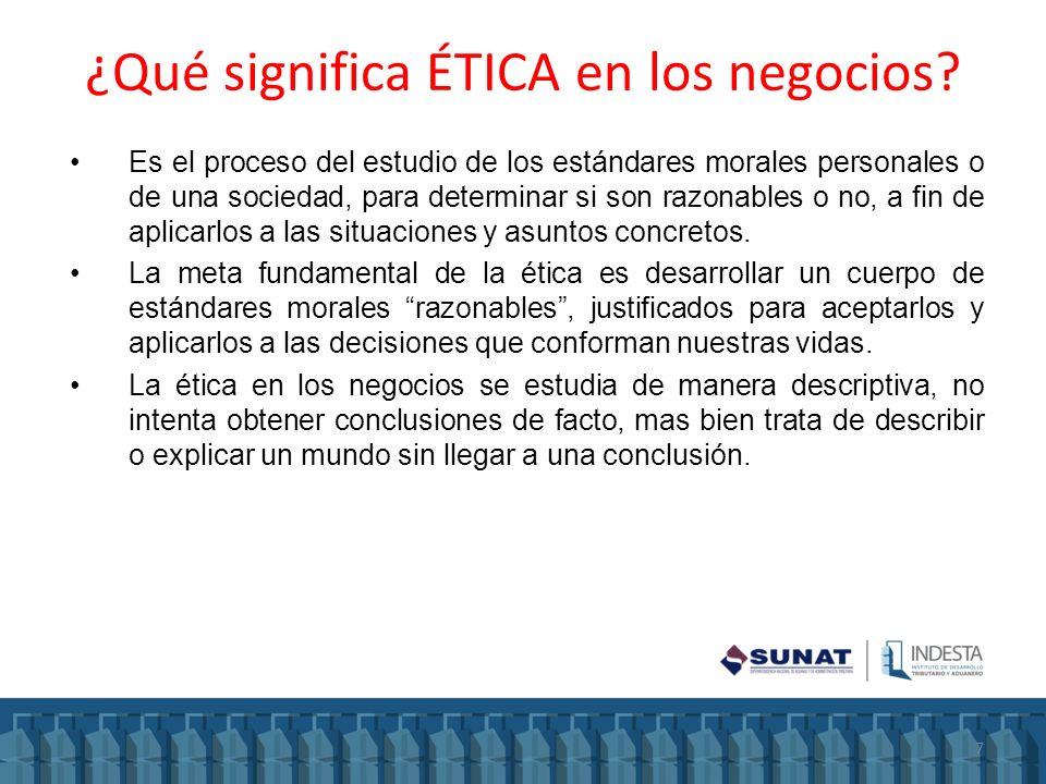 ¿Qué significa ÉTICA en los negocios? Es el proceso del estudio de los estándares morales personales o de una sociedad, para determinar si son razonab