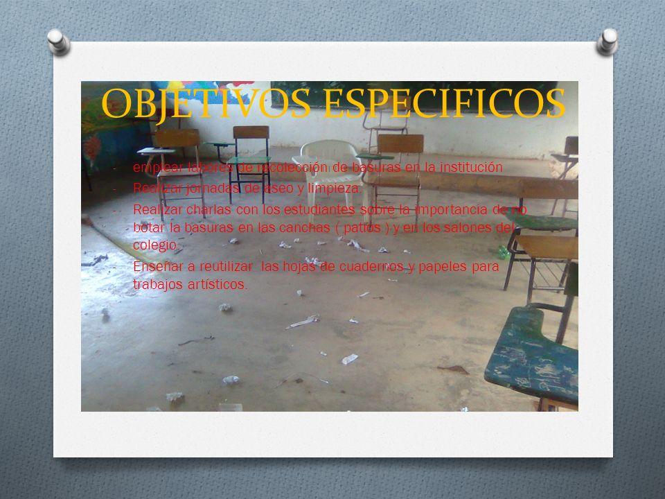 OBJETIVOS ESPECIFICOS - emplear labores de recolección de basuras en la institución - Realizar jornadas de aseo y limpieza.