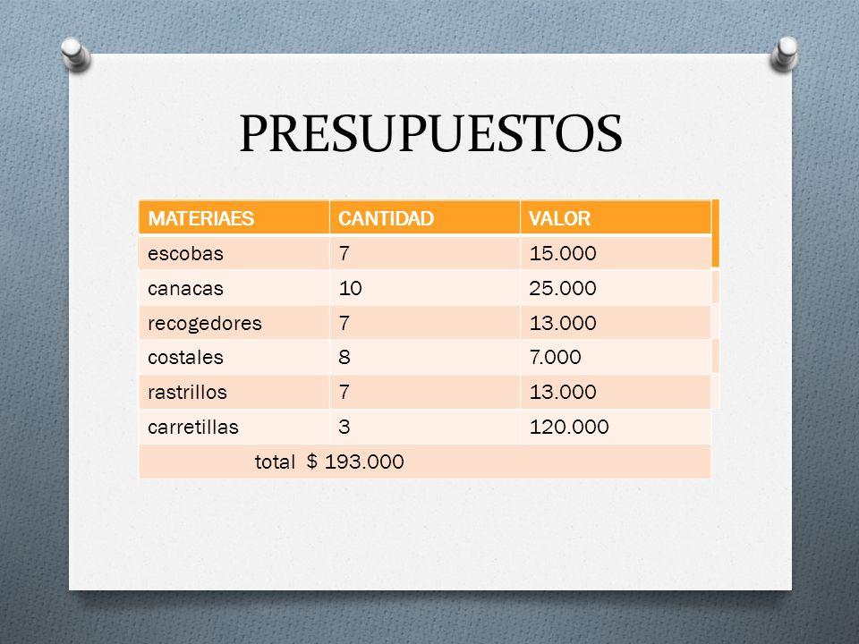 PRESUPUESTOS MATERIAESCANTIDADVALOR escobas715.000 canacas1025.000 recogedores713.000 costales87.000 rastrillos713.000 carretillas3120.000 total $ 193.000