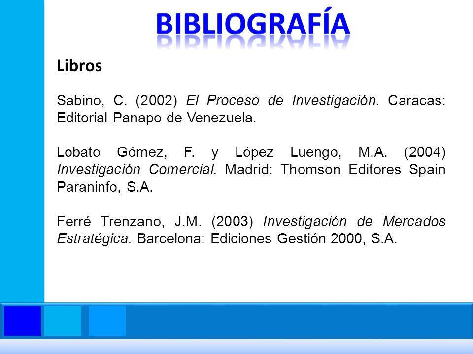 Sabino, C. (2002) El Proceso de Investigación. Caracas: Editorial Panapo de Venezuela. Lobato Gómez, F. y López Luengo, M.A. (2004) Investigación Come