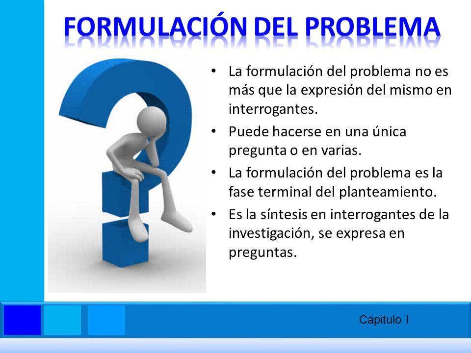 La formulación del problema no es más que la expresión del mismo en interrogantes. Puede hacerse en una única pregunta o en varias. La formulación del