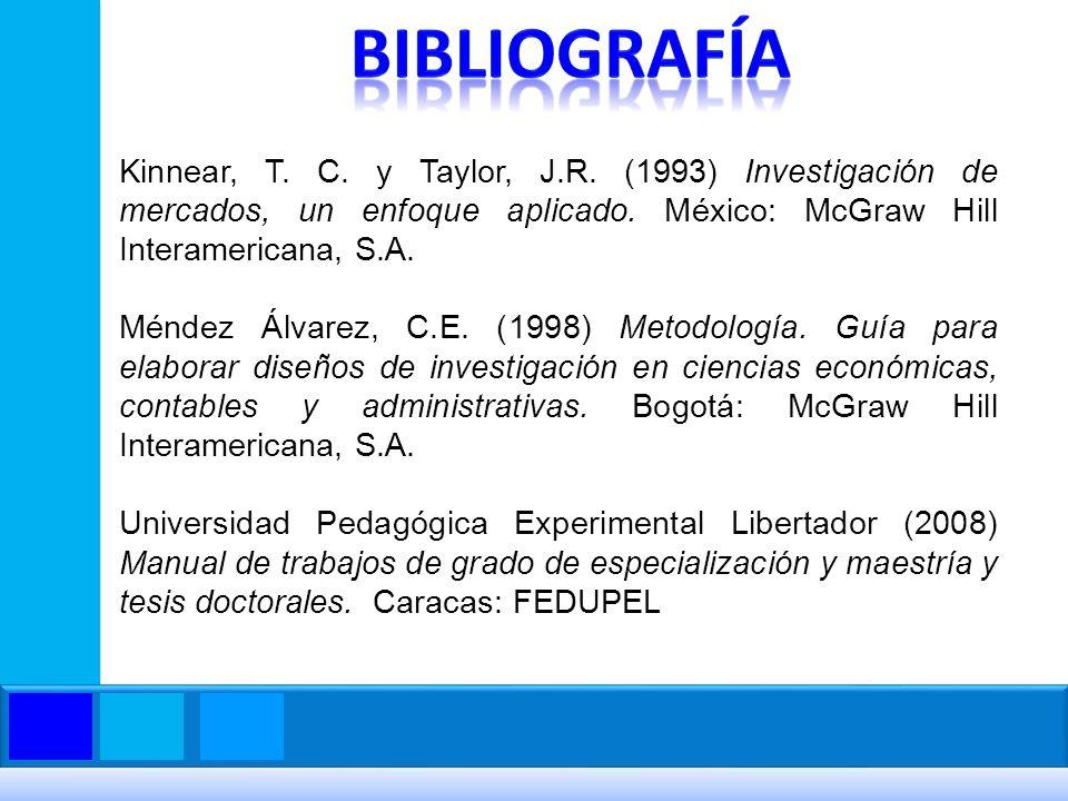 Kinnear, T. C. y Taylor, J.R. (1993) Investigación de mercados, un enfoque aplicado. México: McGraw Hill Interamericana, S.A. Méndez Álvarez, C.E. (19