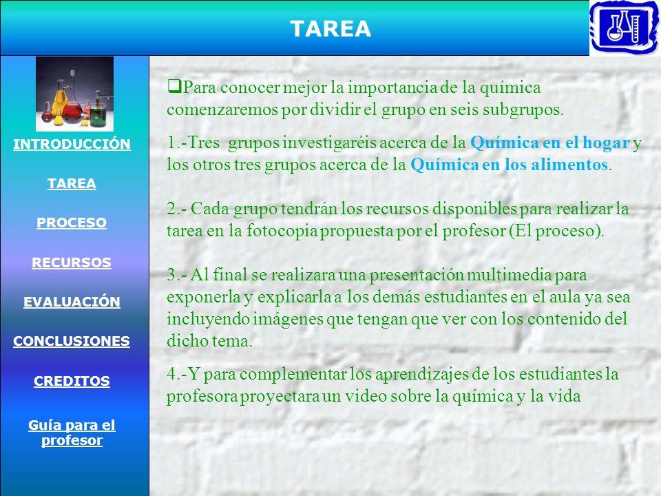 INTRODUCCIÓN TAREA PROCESO RECURSOS EVALUACIÓN CONCLUSIONES CREDITOS Guía para el profesor Cuando lees o escuchas acerca dela palabra