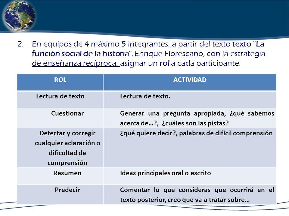 2.En equipos de 4 máximo 5 integrantes, a partir del texto texto La función social de la historia, Enrique Florescano, con la estrategia de enseñanza