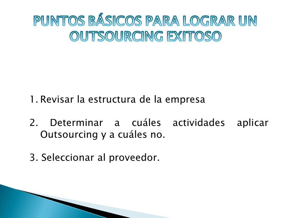 1.Revisar la estructura de la empresa 2. Determinar a cuáles actividades aplicar Outsourcing y a cuáles no. 3. Seleccionar al proveedor.