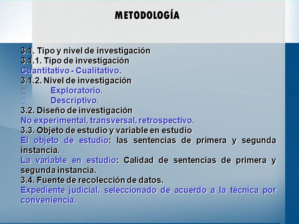 METODOLOGÍA 3.1. Tipo y nivel de investigación 3.1.1. Tipo de investigación Cuantitativo - Cualitativo. 3.1.2. Nivel de investigación Exploratorio. Ex