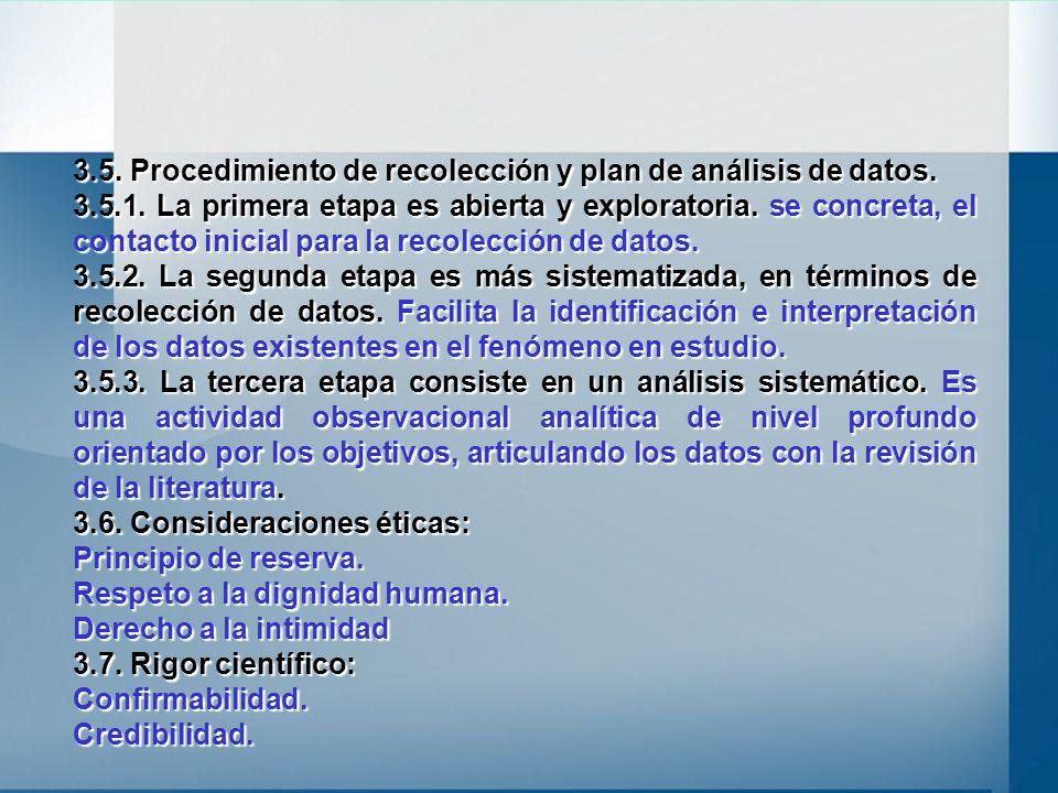 3.5. Procedimiento de recolección y plan de análisis de datos. 3.5.1. La primera etapa es abierta y exploratoria. se concreta, el contacto inicial par