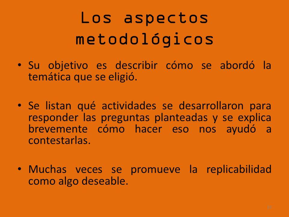 Los aspectos metodológicos Su objetivo es describir cómo se abordó la temática que se eligió. Se listan qué actividades se desarrollaron para responde