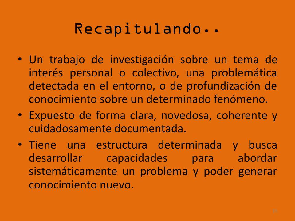 Recapitulando.. Un trabajo de investigación sobre un tema de interés personal o colectivo, una problemática detectada en el entorno, o de profundizaci