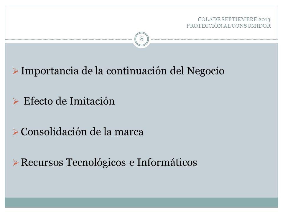 COLADE SEPTIEMBRE 2013 PROTECCIÓN AL CONSUMIDOR Importancia de la continuación del Negocio Efecto de Imitación Consolidación de la marca Recursos Tecn