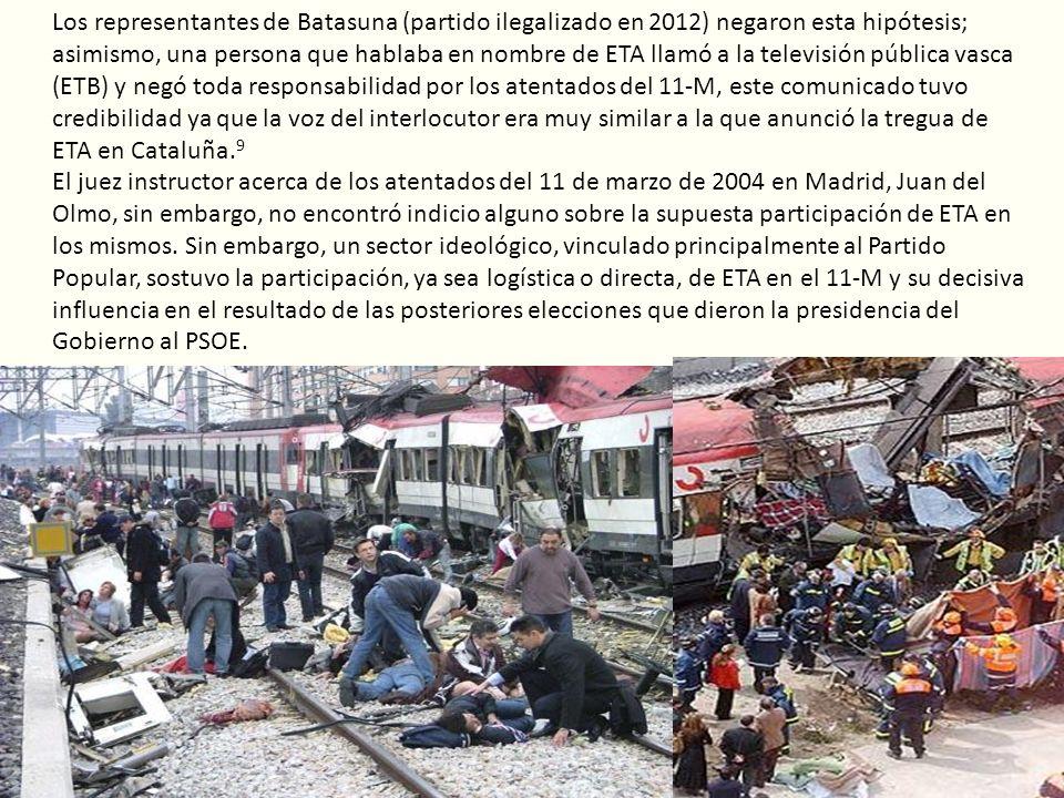 Los representantes de Batasuna (partido ilegalizado en 2012) negaron esta hipótesis; asimismo, una persona que hablaba en nombre de ETA llamó a la tel